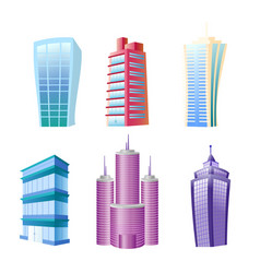 funny modern buildings set vector image
