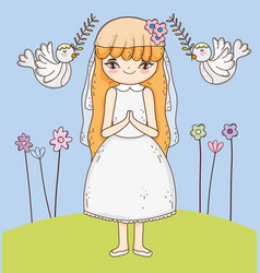 Girl communion with dress and flowers plants vector