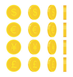 Gold coins icon coins with images currencies vector