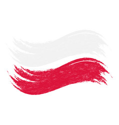 Grunge brush stroke with national flag of poland vector