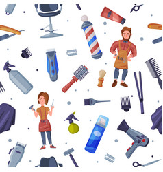 hairdresser professional tools seamless pattern vector image