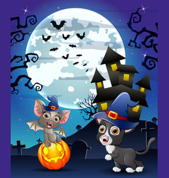 Halloween background with child bats witch and kit vector