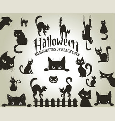 halloween decorative silhouettes black cats vector image