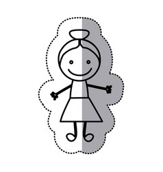 Hand drawn sticker silhouette with girl vector