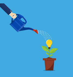 hand of business person watering idea tree vector image