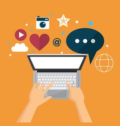 Hand using laptop social media network vector