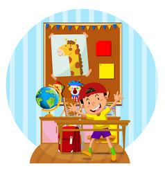 happy boy in the classroom vector image