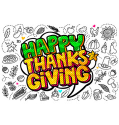 Happy thanksgiving message in pop art style vector