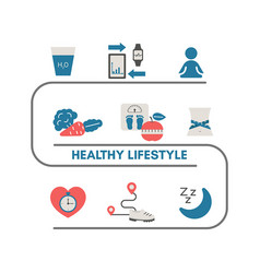 healthy lifestyle infographic healthy lifestyle vector image