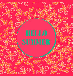 hello summer background in violet-red color vector image