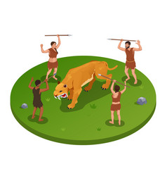 Hunting tiger isometric composition vector