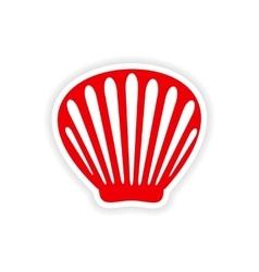 Icon sticker realistic design on paper shell vector
