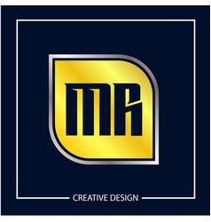 initial mr letter logo template design vector image