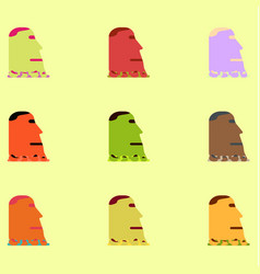 Island stone head moai collection vector