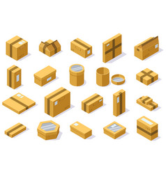 isometric cardboard packaging shipping boxes vector image