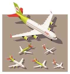 isometric low poly airplanes set vector image
