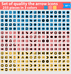 large set flat pointing icon in three colors vector image