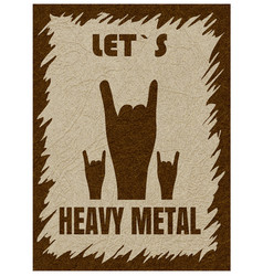 Let s heavy metal hand gesture horn rock vector