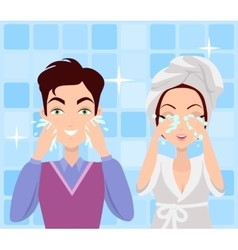 Man and Woman Washing their Faces Cleaning vector image