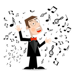 man in suit with notes singer cartoon isolated on vector image
