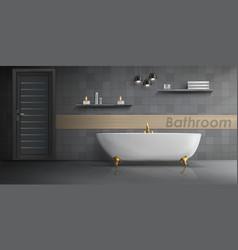 Mockup modern bathroom interior vector