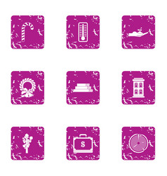 Money leisure icons set grunge style vector