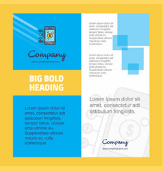 Money through smartphone company brochure title vector