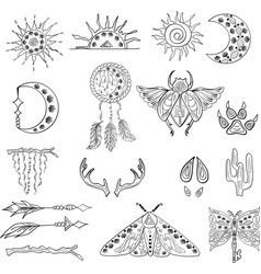 outline hand drawn bohemian clipart for decoration vector image