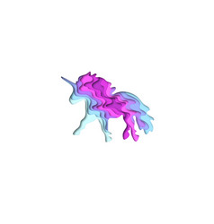 paper cut shape unicorn 3d origami vector image