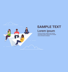 people flying on paper airplane mix race men women vector image