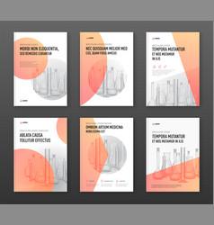 Pharmaceutical brochure cover design layout set vector