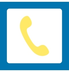 Phone flat yellow and white colors rounded button vector