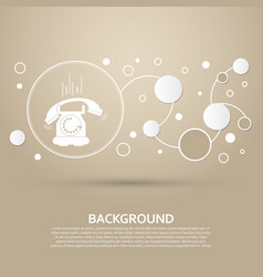 Phone icon on a brown background with elegant vector