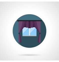 Purple window treatment round flat icon vector image