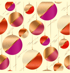 Red and pink xmas balls seamless pattern vector