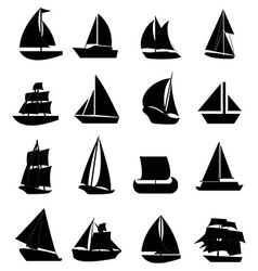 Sail boat icons set vector image
