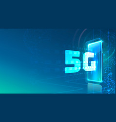 screen phone neon icon 5g network modern blue vector image