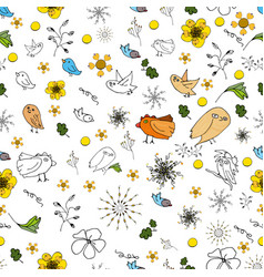 seamless picture of flora and fauna theme in a vector image