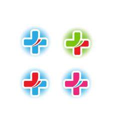 set medical cross icon vector image