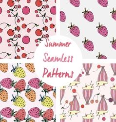 Set of cute summer seamless patterns vector image