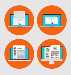 set of icon of concept email marketingonline news vector image