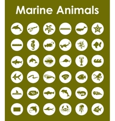 Set of marine animals simple icons vector image