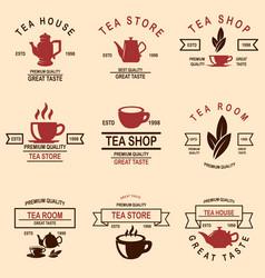 set tea house labels design element for logo vector image