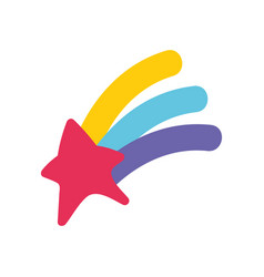 Shooting star rainbow magic isolated design icon vector
