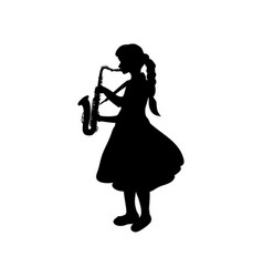 Silhouette girl music playing the saxophone vector