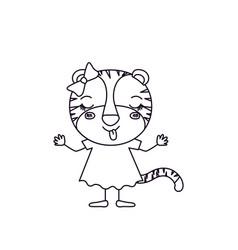Sketch silhouette caricature of female tigress in vector
