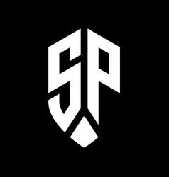 sp logo monogram with emblem shield style design vector image