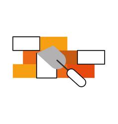 spatula tool with bricks wall vector image