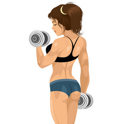sporty girl with dumbbells vector image