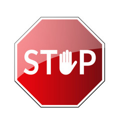 stop road sign prohibited warning icon palm vector image